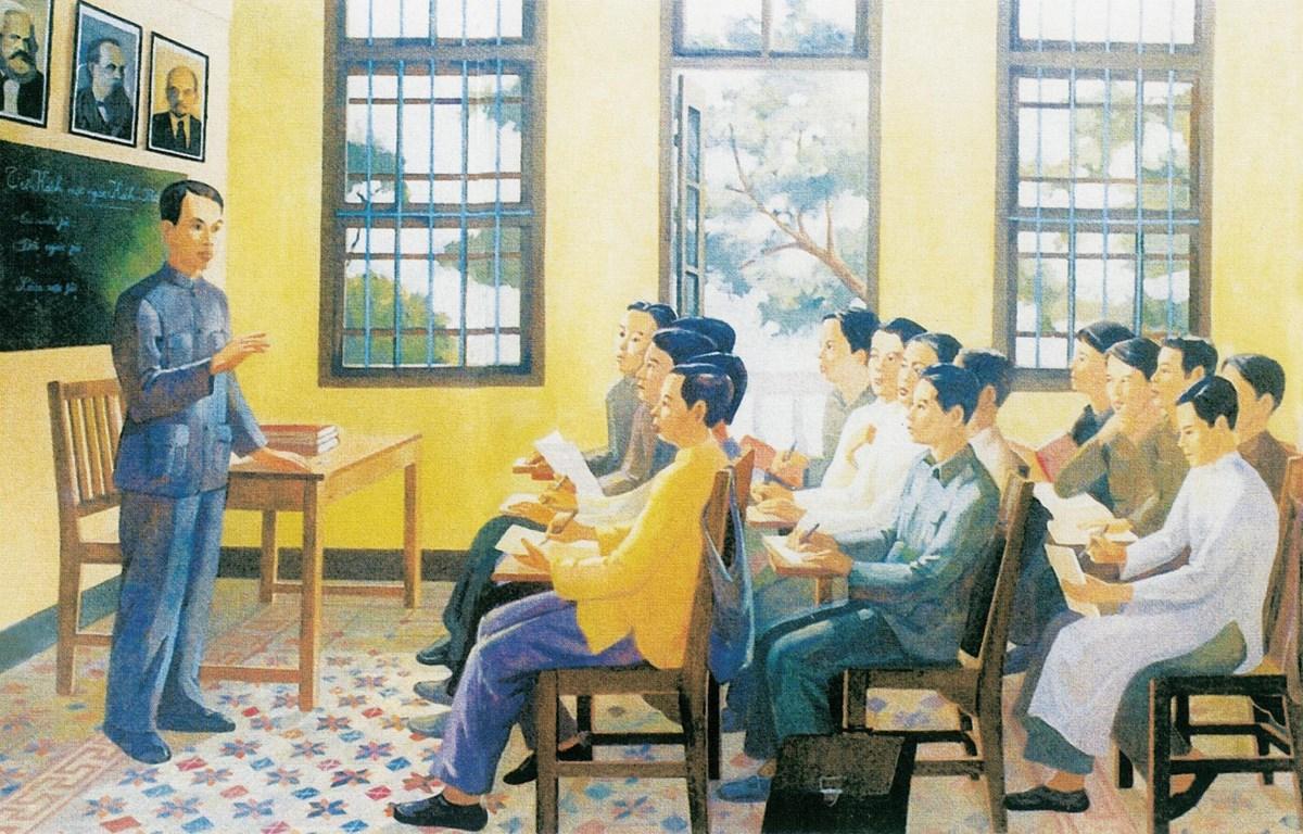 Từ 1925-1927, tại nhà số 13, đường Văn Minh (Quảng Châu, Trung Quốc), Lãnh tụ Nguyễn Ái Quốc đã mở các lớp huấn luyện chính trị, đào tạo cán bộ cho cách mạng Việt Nam. Tranh trưng bày tại triển lãm. (Ảnh: Minh Thu/Vietnam+)