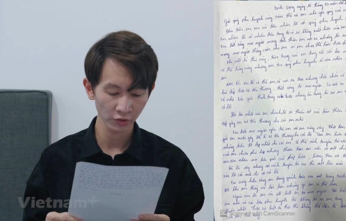 """Người đại diện của Thơ Nguyễn đọc thư xin lỗi sau vụ việc """"xin vía búp bê để học giỏi."""" (Ảnh chụp màn hình)"""