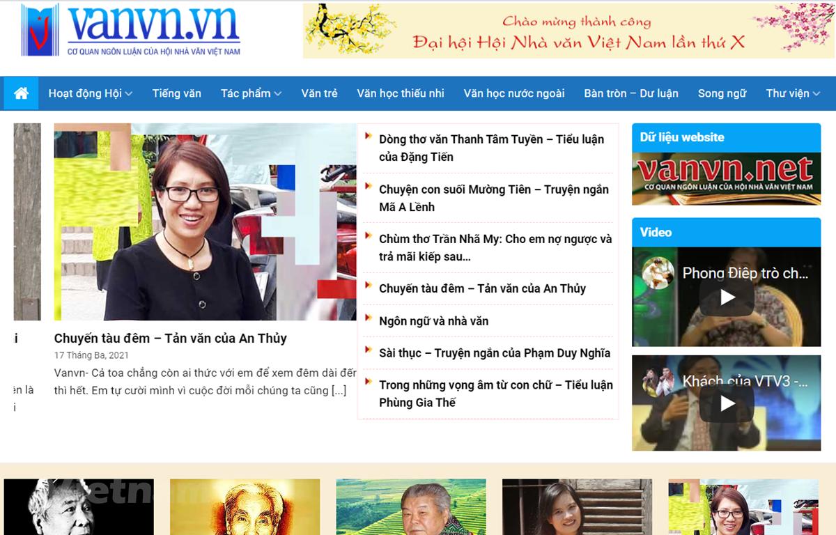 Giao diện trang thông tin điện tử mới của Hội Nhà văn Việt Nam. (Ảnh chụp màn hình)