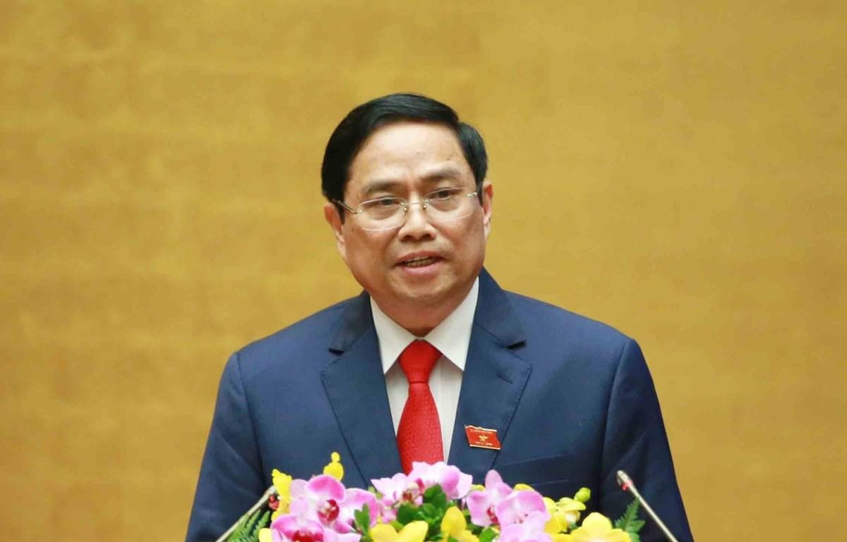 Thủ tướng Chính phủ Phạm Minh Chính phát biểu nhậm chức Thủ tướng Chính phủ tại kỳ họp thứ 11, Quốc hội khóa XIV. (Ảnh: Phương Hoa/TTXVN)
