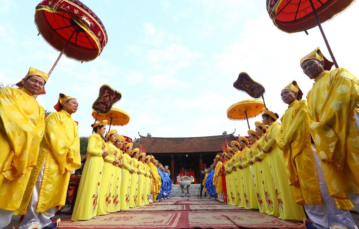 Nghi thức tế lễ tại Lễ hội Cổ Loa 2020. (Ảnh: Minh Quyết/TTXVN