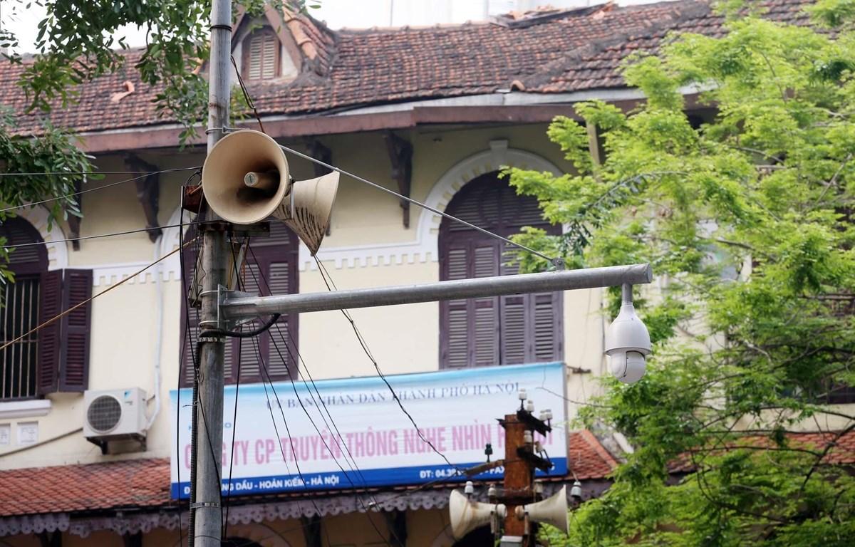 Một cụm loa phường Lý Thái Tổ hàng ngày đưa thông tin về phòng, chống dịch COVID-19 lan tỏa đến từng ngõ xóm, len lỏi tới mỗi gia đình. (Ảnh: Anh Tuấn/TTXVN)