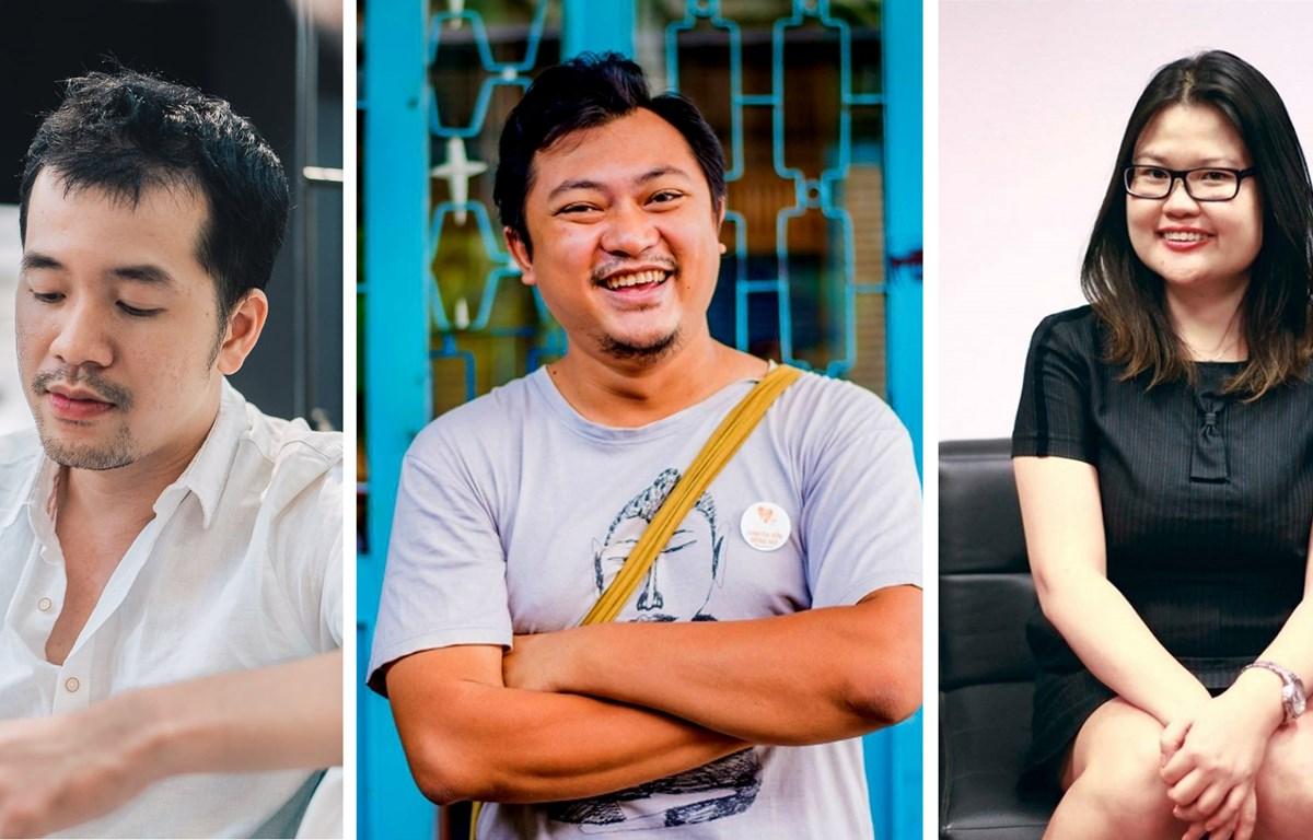 Từ trái qua là các đạo diễn Trịnh Đình Lê Minh, Phan Gia Nhật Linh và biên kịch Kay Nguyễn.