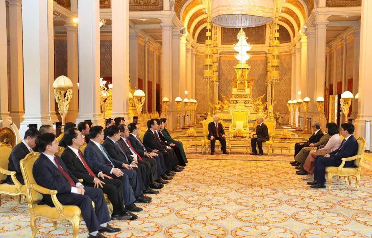 Toàn cảnh Tổng Bí thư, Chủ tịch nước Nguyễn Phú Trọng hội đàm với Quốc vương Campuchia Norodom Sihamoni. (Ảnh: Trí Dũng/TTXVN)