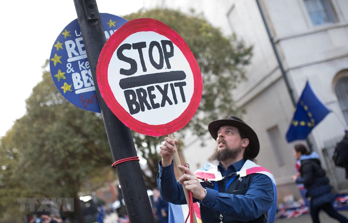Người dân tuần hành phản đối Brexit bên ngoài tòa nhà Quốc hội ở London, Anh, ngày 11/3/2019. (Nguồn: THX/TTXVN)