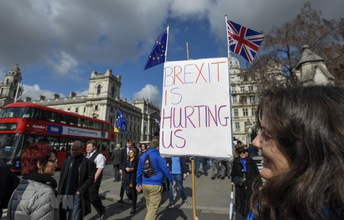 Người dân tuần hành phản đối Brexit bên ngoài tòa nhà Quốc hội ở London, Anh, ngày 19/3/2019. (Nguồn: THX/TTXVN)