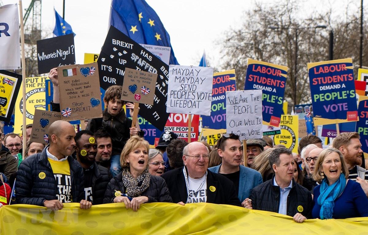 Tuần hành phản đối Brexit tại London, Anh ngày 23/3/2019. (Nguồn: AFP/TTXVN)