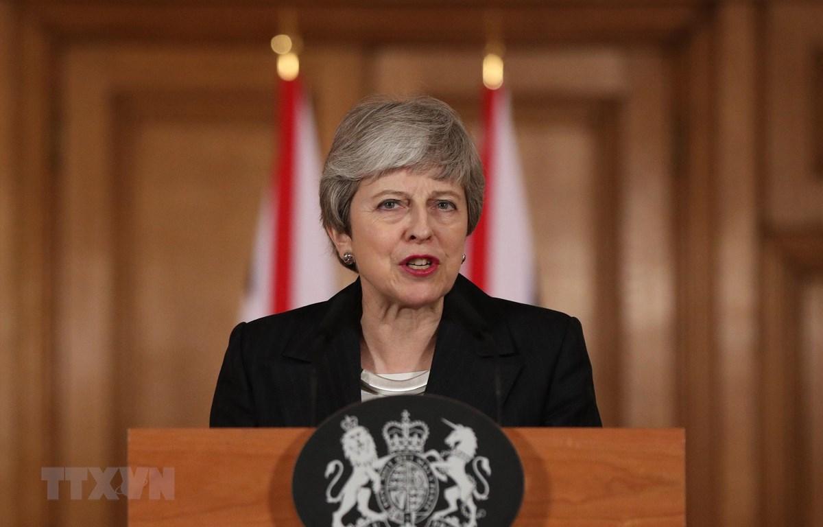 Thủ tướng Anh Theresa May phát biểu tại thủ đô London ngày 20/3/2019. (Nguồn: AFP/TTXVN)