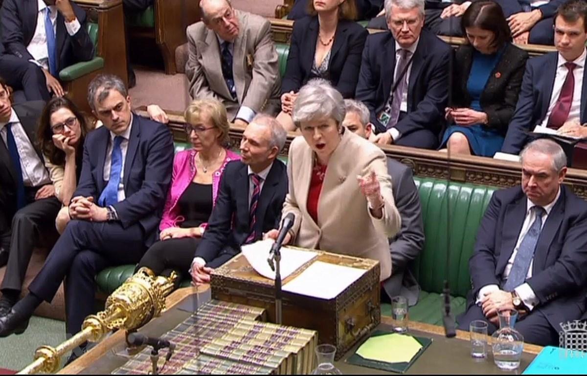 Thủ tướng Anh Theresa May phát biểu tại cuộc họp Hạ viện ở thủ đô London ngày 29/3/2019. (Nguồn: AFP/TTXVN)