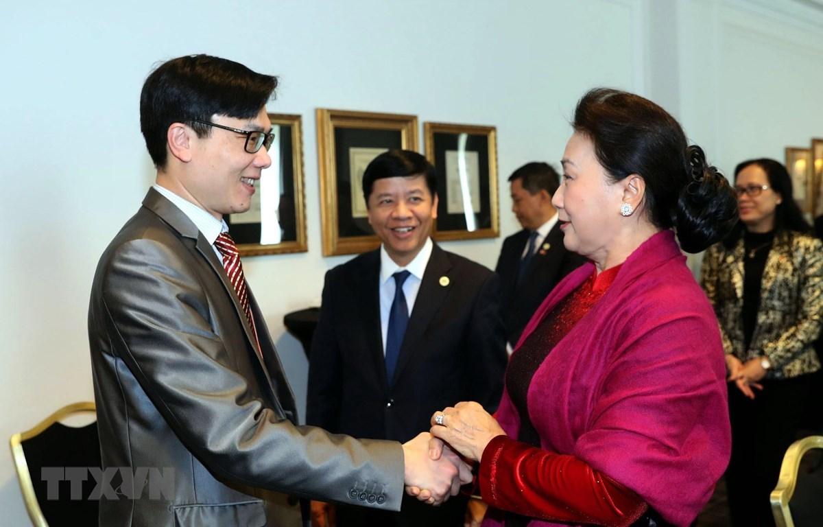 Chủ tịch Quốc hội Nguyễn Thị Kim Ngân tiếp đại diện tiểu biểu dự Diễn đàn doanh nhân người Việt toàn cầu' (Vietnam Global Leaders Forum - VLGF) đang diễn ra ở thủ đô Paris. (Ảnh: Trọng Đức/TTXVN)