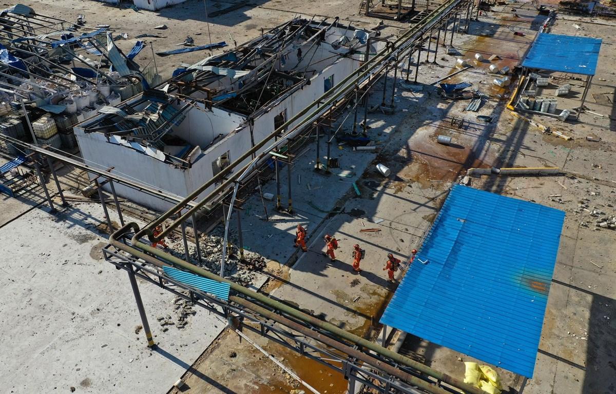 Hiện trường vụ nổ nhà máy hóa chất ở thành phố Diêm Thành, tỉnh Giang Tô, Trung Quốc, ngày 22/3/2019. (Nguồn: THX/TTXVN)