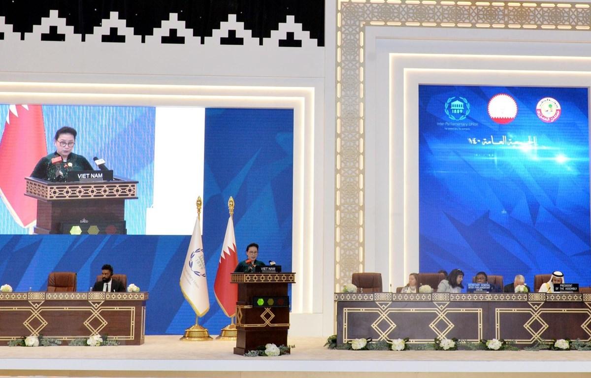Chủ tịch Quốc hội Nguyễn Thị Kim Ngân phát biểu tại phiên thảo luận chung của IPU -140. (Ảnh: Trọng Đức/TTXVN)