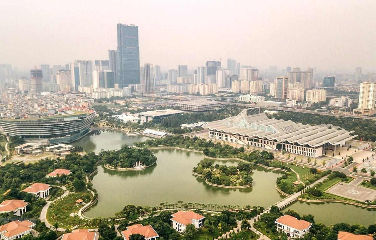 Một góc của Thủ đô Hà Nội, hướng Trung tâm hội nghị Quốc gia. (Ảnh: Thành Đạt/TTXVN)