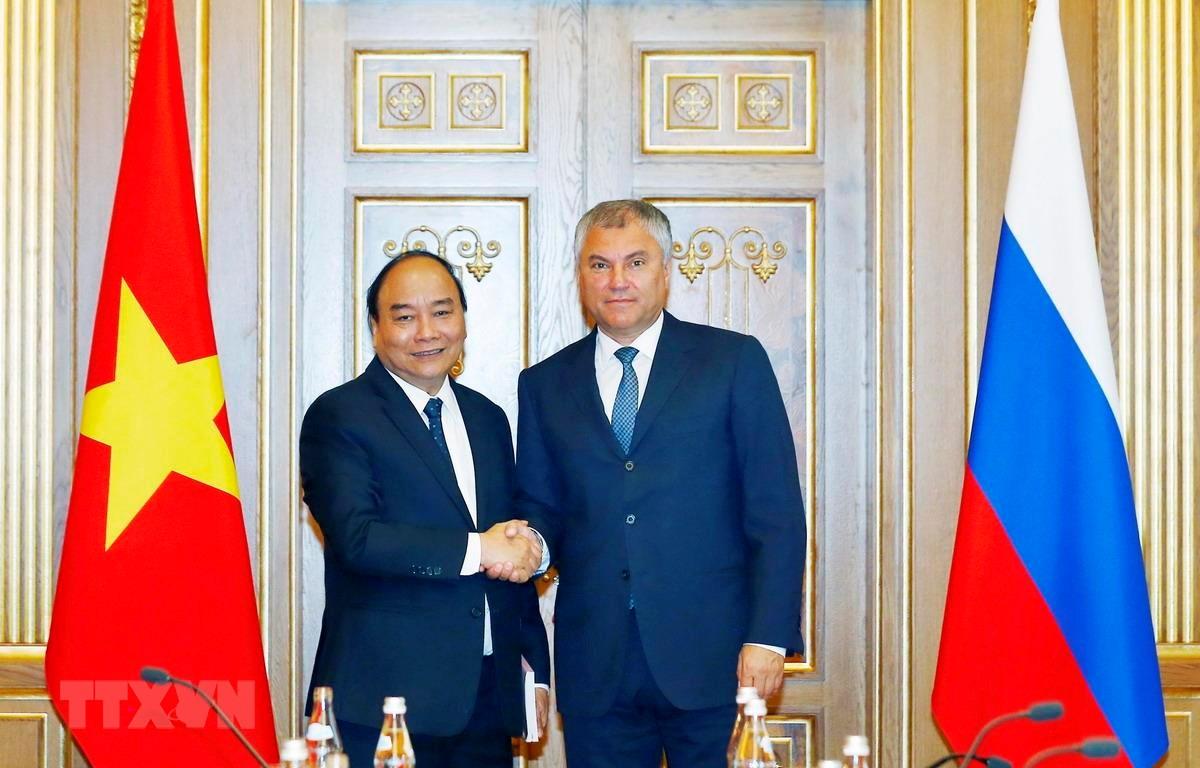 Thủ tướng Chính phủ Nguyễn Xuân Phúc đã hội kiến Chủ tịch Duma quốc gia Nga Vyacheslav Viktorovich Volodin. (Ảnh: Thống Nhất/TTXVN)