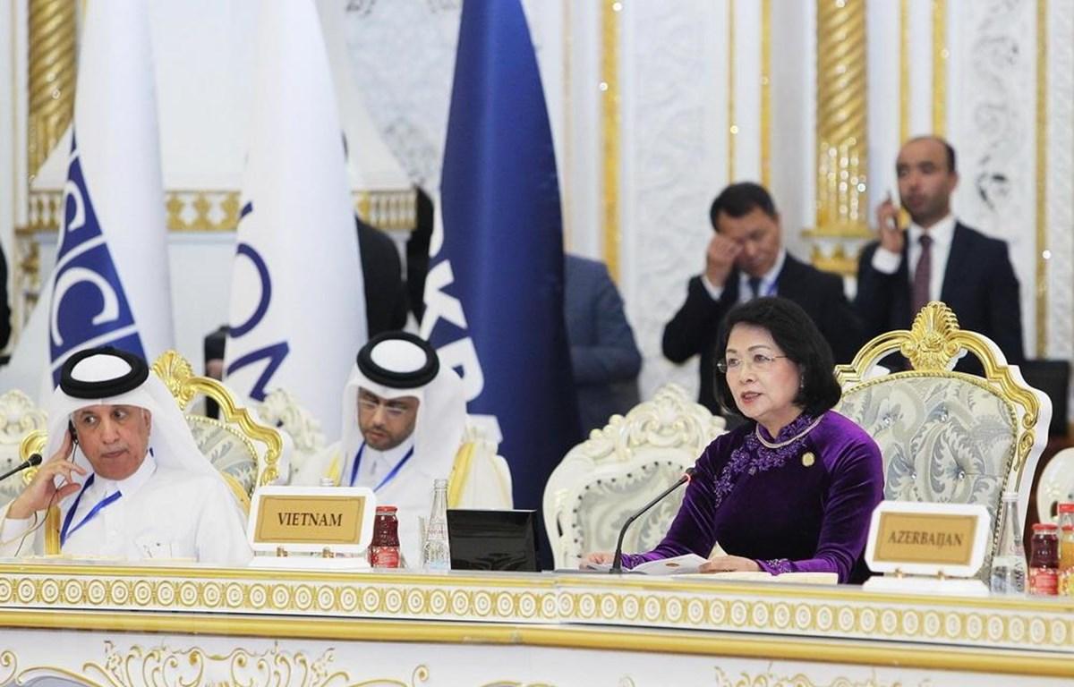Phát biểu tại hội nghị, Phó Chủ tịch nước Đặng Thị Ngọc Thịnh cho rằng các nước thành viên CICA cần khẳng định vai trò là một diễn đàn đối thoại, trao đổi thông tin, xây dựng lòng tin ở châu Á. (Ảnh: Lâm Khánh/TTXVN)