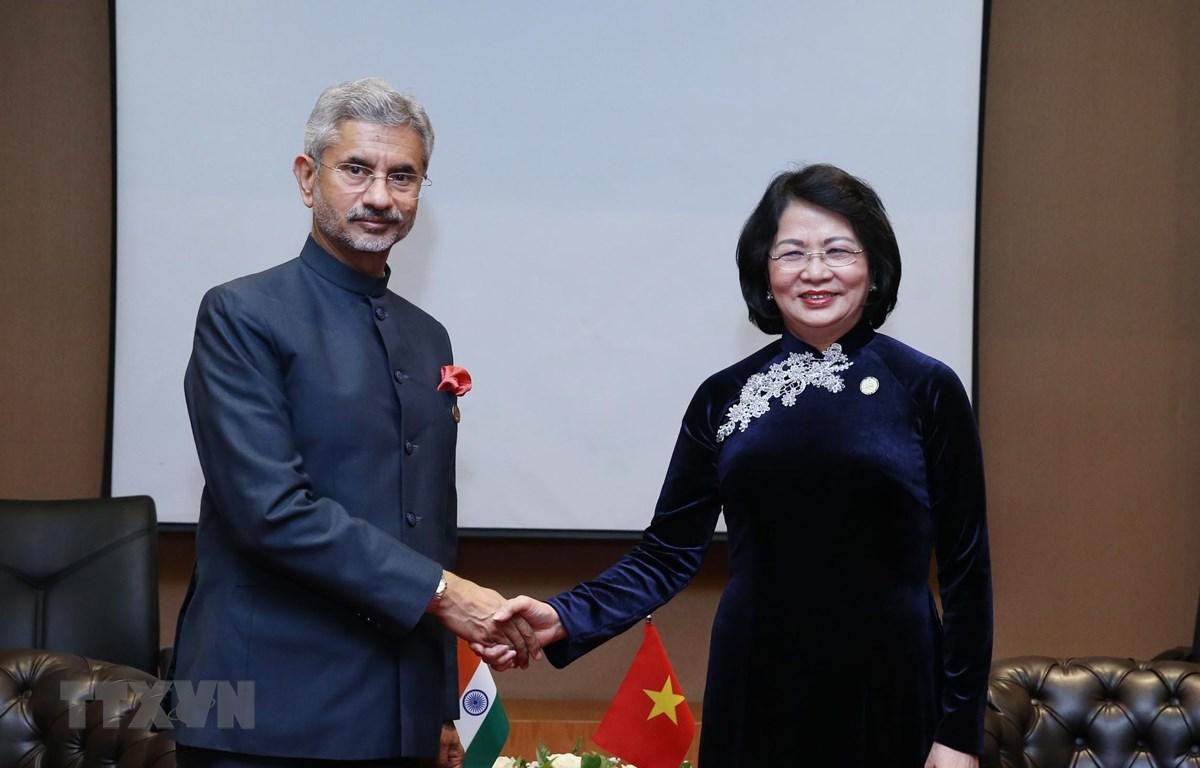 Phó Chủ tịch nước Đặng Thị Ngọc Thịnh tiếp Bộ trưởng Bộ Ngoại giao Ấn Độ Subrahmanyam Jaishankar. (Ảnh: Lâm Khánh/TTXVN)
