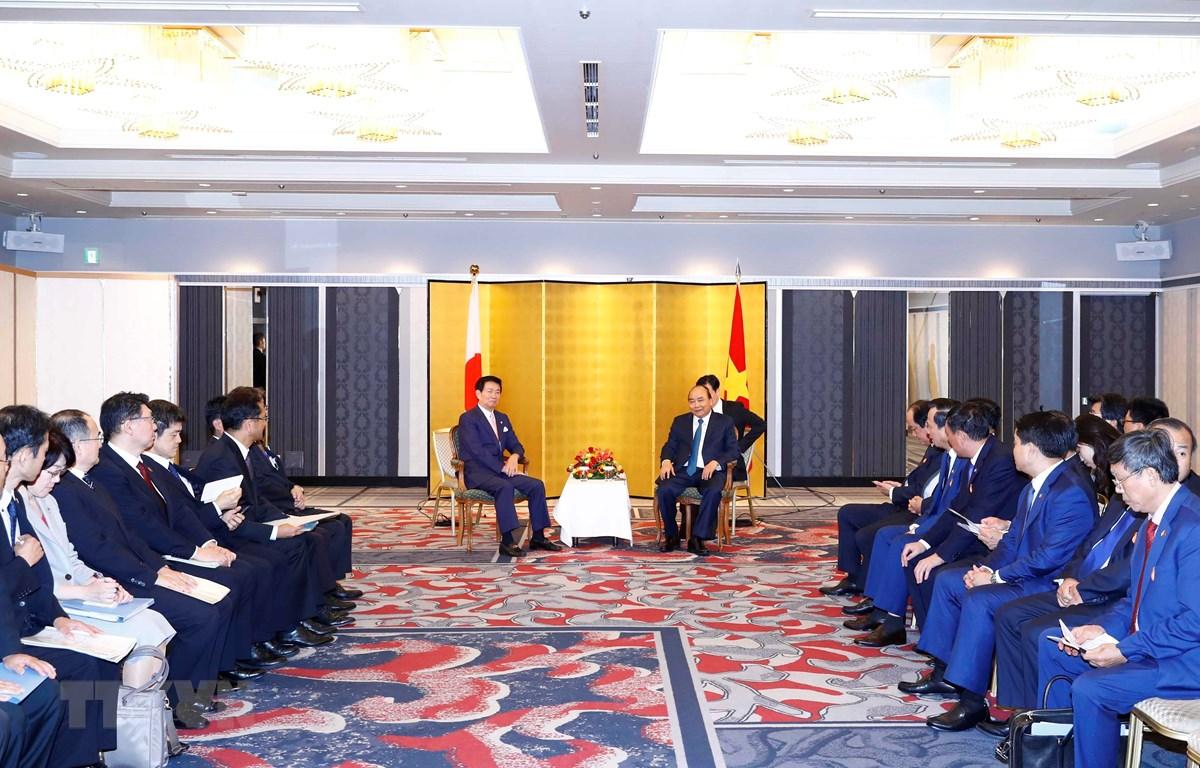 Thủ tướng Nguyễn Xuân Phúc tiếp Thống đốc tỉnh Chiba, ông Morita Kensaku. (Ảnh: Thống Nhất/TTXVN)