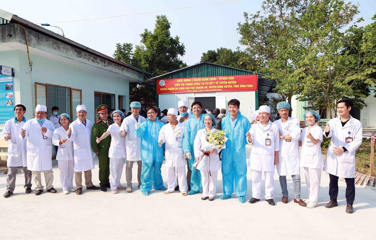 Trong ảnh: Bệnh viện đa khoa khu vực Quang Hà (huyện Bình Xuyên) trong ngày 2 bệnh nhân mắc COVID-19 được xuất viện. (Ảnh: Hoàng Hùng/TTXVN)