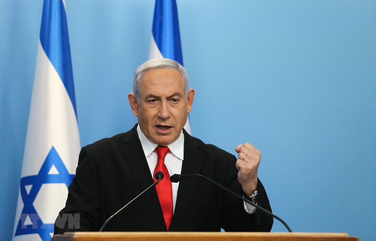 Thủ tướng Israel Benjamin Netanyahu trong bài phát biểu tại Jerusalem ngày 14/3/2020. (Nguồn: THX/TTXVN)