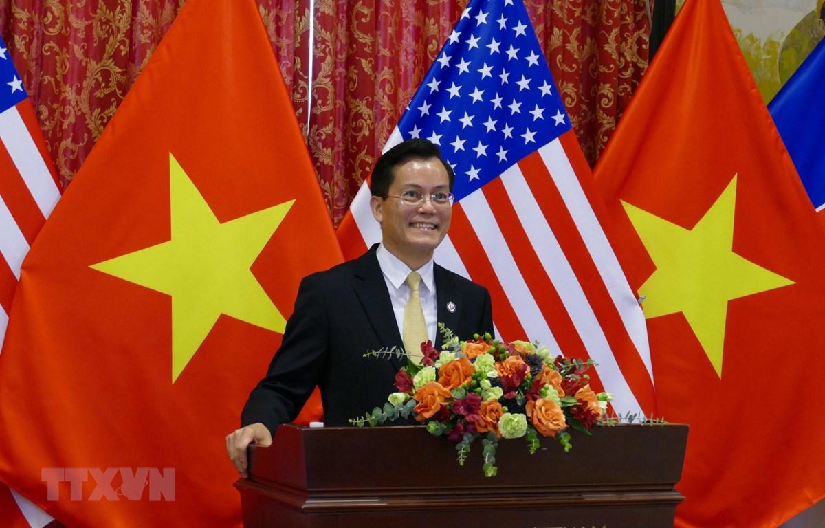 Đại sứ Việt Nam tại Hoa Kỳ Hà Kim Ngọc phát biểu tại Lễ kỷ niệm. (Ảnh: TTXVN)