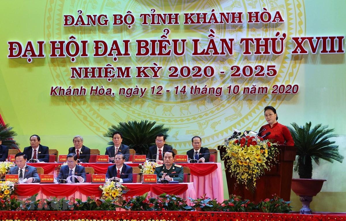 Chủ tịch Quốc hội Nguyễn Thị Kim Ngân phát biểu tại Đại hội đại biểu Đảng bộ tỉnh Khánh Hòa lần thứ XVIII. (Ảnh: Trọng Đức/TTXVN)