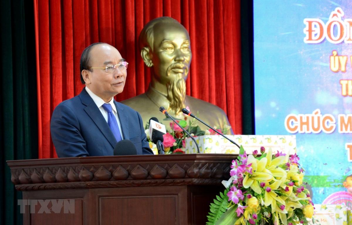 Thủ tướng Nguyễn Xuân Phúc phát biểu tại Bộ Chỉ huy Bộ đội Biên phòng thành phố Đà Nẵng. (Ảnh: Quốc Dũng/TTXVN)
