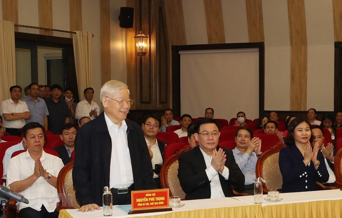 Tổng Bí thư, Chủ tịch nước Nguyễn Phú Trọng tại Hội nghị lấy ý kiến nhận xét và tín nhiệm cử tri nơi cư trú. (Ảnh: Trí Dũng/TTXVN)