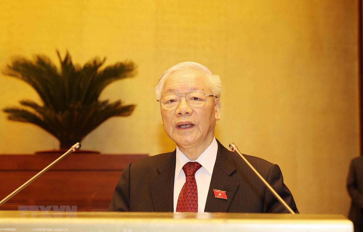 Tổng Bí thư Nguyễn Phú Trọng phát biểu. (Ảnh: Trí Dũng/TTXVN)