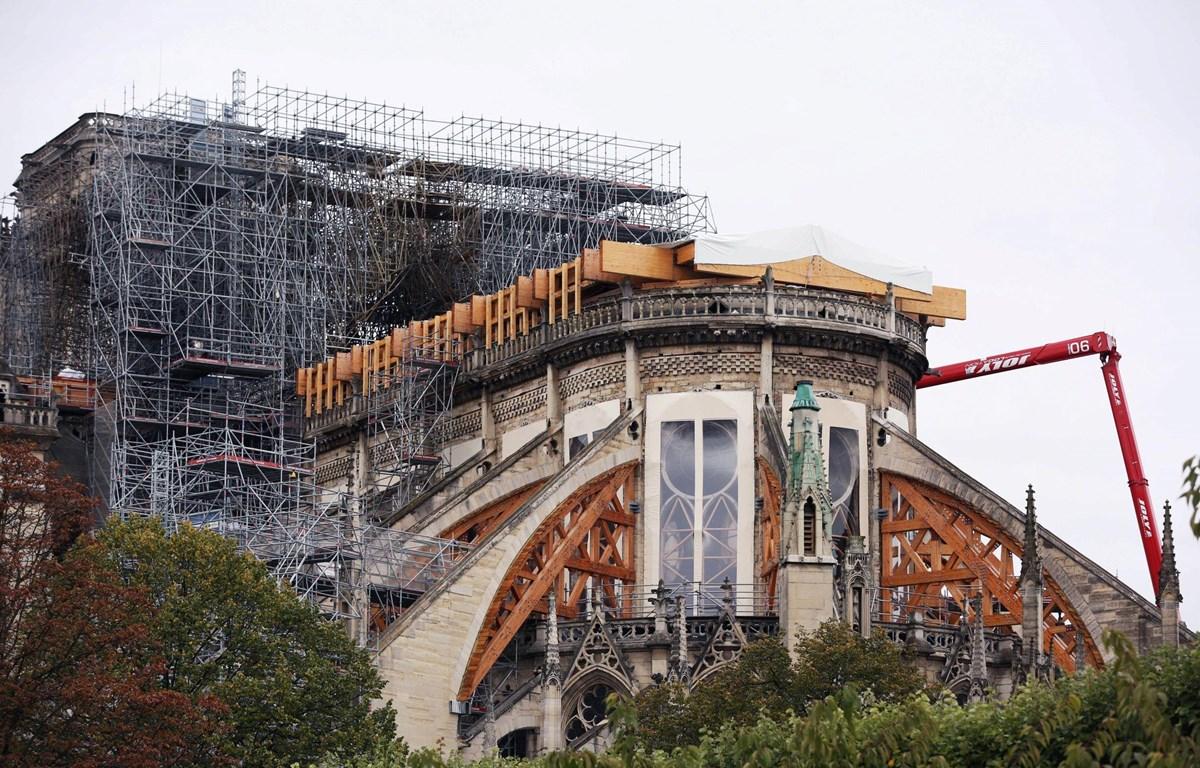 Nhà thờ Đức Bà Paris, Pháp, trong quá trình sửa chữa và phục dựng, ngày 17/10/2019. (Ảnh: THX/ TTXVN)