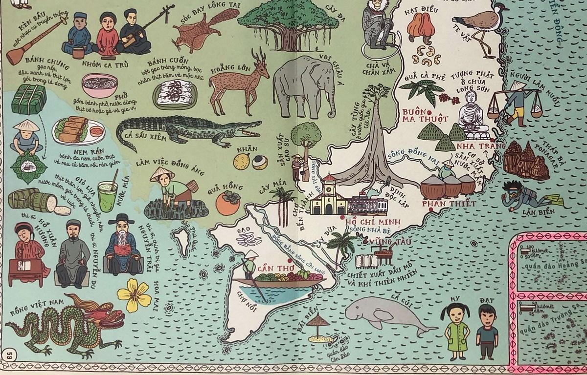 Hình vẽ lãnh thổ Việt Nam với hình ảnh hai quần đảo Hoàng Sa, Trường Sa rất rõ nét thể hiện rõ chủ quyền của Việt Nam tại Biển Đông với hai quần đảo này.