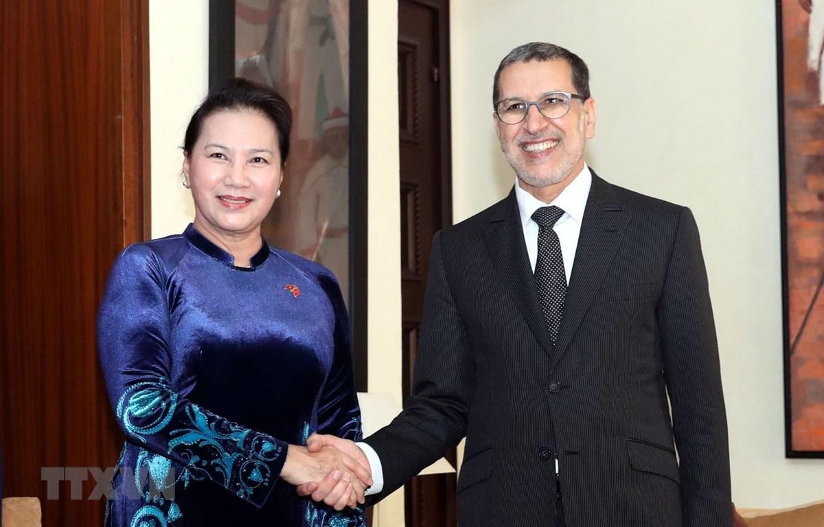 Chủ tịch Quốc hội Nguyễn Thị Kim Ngân (trái) hội kiến với Thủ tướng Maroc Saadeddine Othmani. (Nguồn: Trọng Đức/TTXVN)