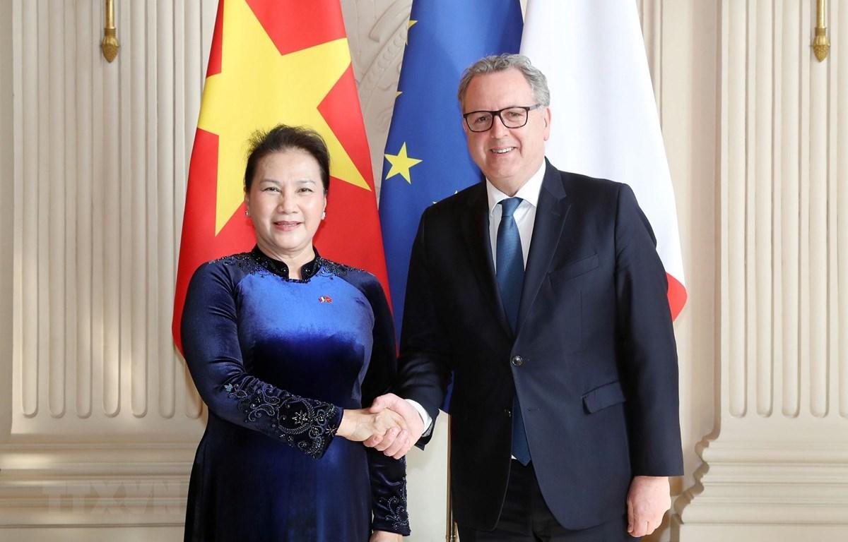 Chủ tịch Quốc hội Nguyễn Thị Kim Ngân và Chủ tịch Hạ viện Pháp Richard Ferrand. (Nguồn: Trọng Đức/TTXVN)