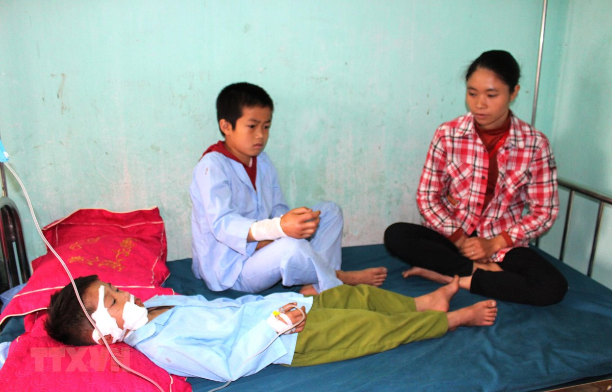Hai cháu bé được đưa vào bệnh viện chữa trị. (Nguồn: Minh Tâm/ TTXVN)