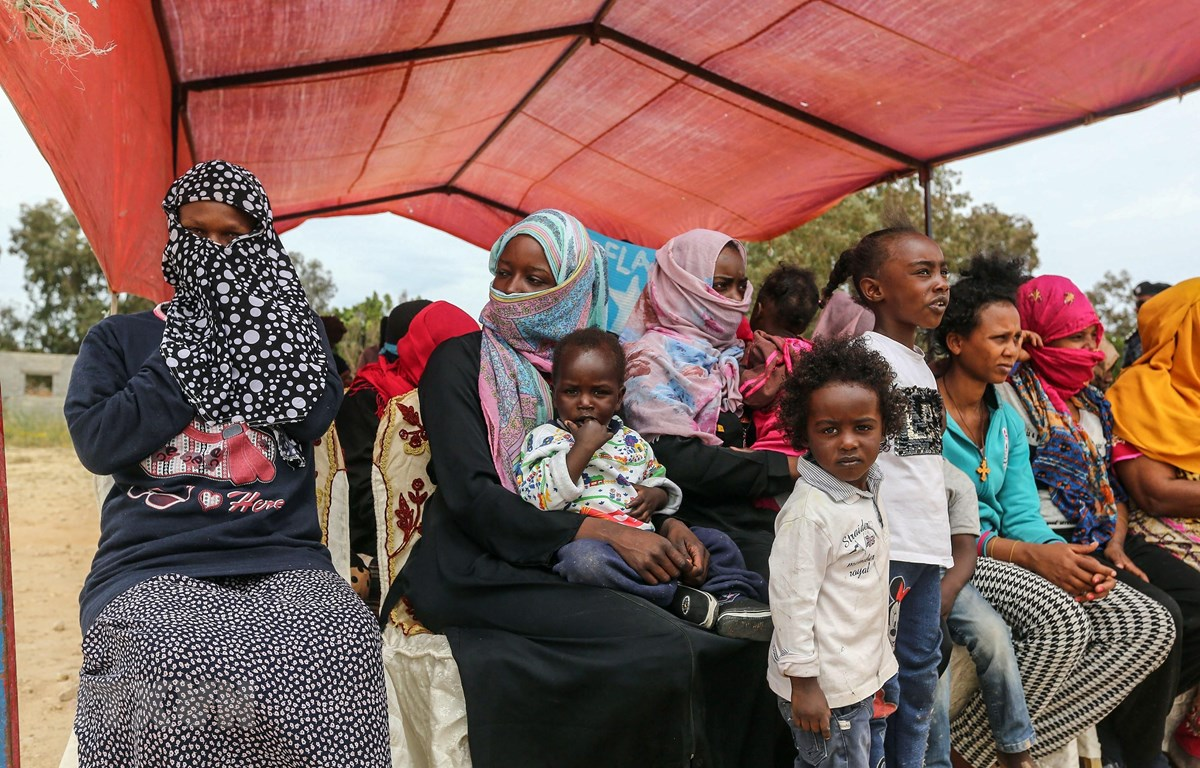 Người tị nạn tại trại tị nạn Ain Zara ở Tripoli, Libya, ngày 4/4/2019. (Ảnh: AFP/ TTXVN)