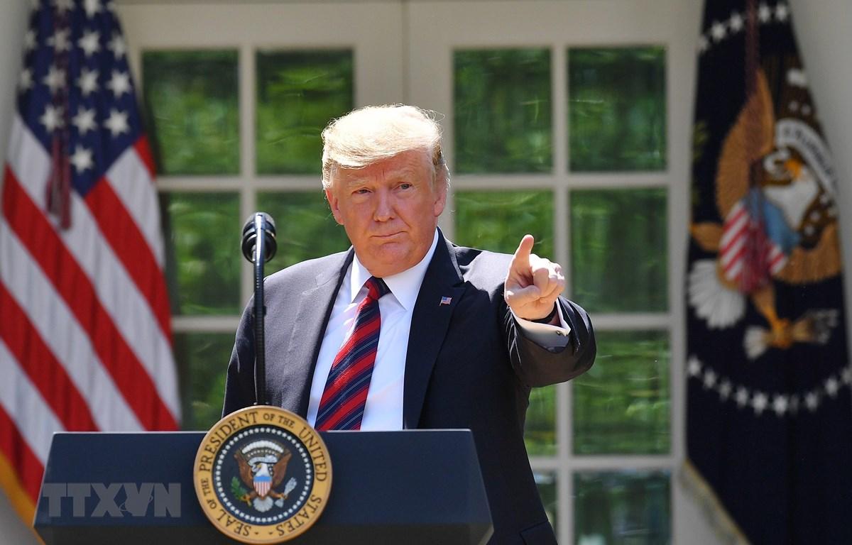 Tổng thống Mỹ Donald Trump phát biểu tại Washington, DC ngày 16/5/2019. (Ảnh: AFP/TTXVN)