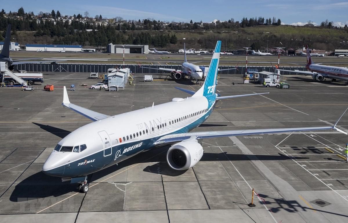 Máy bay Boeing 737 MAX 7 trưng bày tại nhà máy của Boeing ở Seattle, Washington, Mỹ. (Ảnh: AFP/TTXVN)