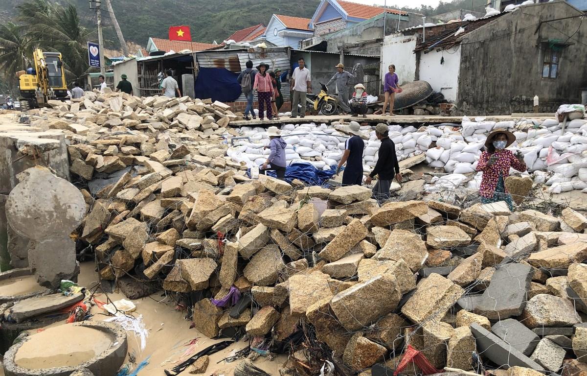 Người dân khẩn trương gia cố tạm kè bờ biển xã Nhơn Hải, thành phố Quy Nhơn, tỉnh Bình Định bị bão số 5 đánh sập gần 100m. (Ảnh: Nguyên Linh/TTXVN)