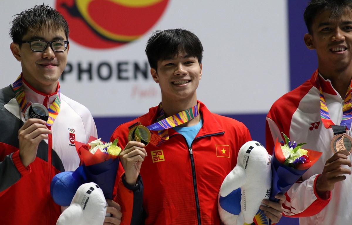 Trần Hưng Nguyên giành HCV nội dung 200m bơi hỗn hợp của nam. (Ảnh: Vietnam+)