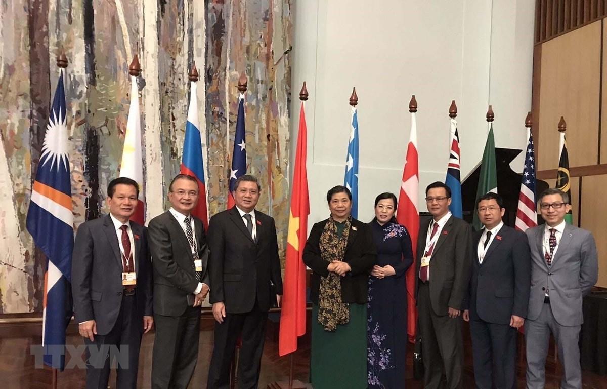 Ủy viên Bộ Chính trị, Phó Chủ tịch Thường trực Quốc hội Tòng Thị Phóng cùng các đại biểu Quốc hội Việt Nam tham dự Diễn đàn Nghị viện châu Á - Thái Bình Dương 2020. Ảnh: TTXVN