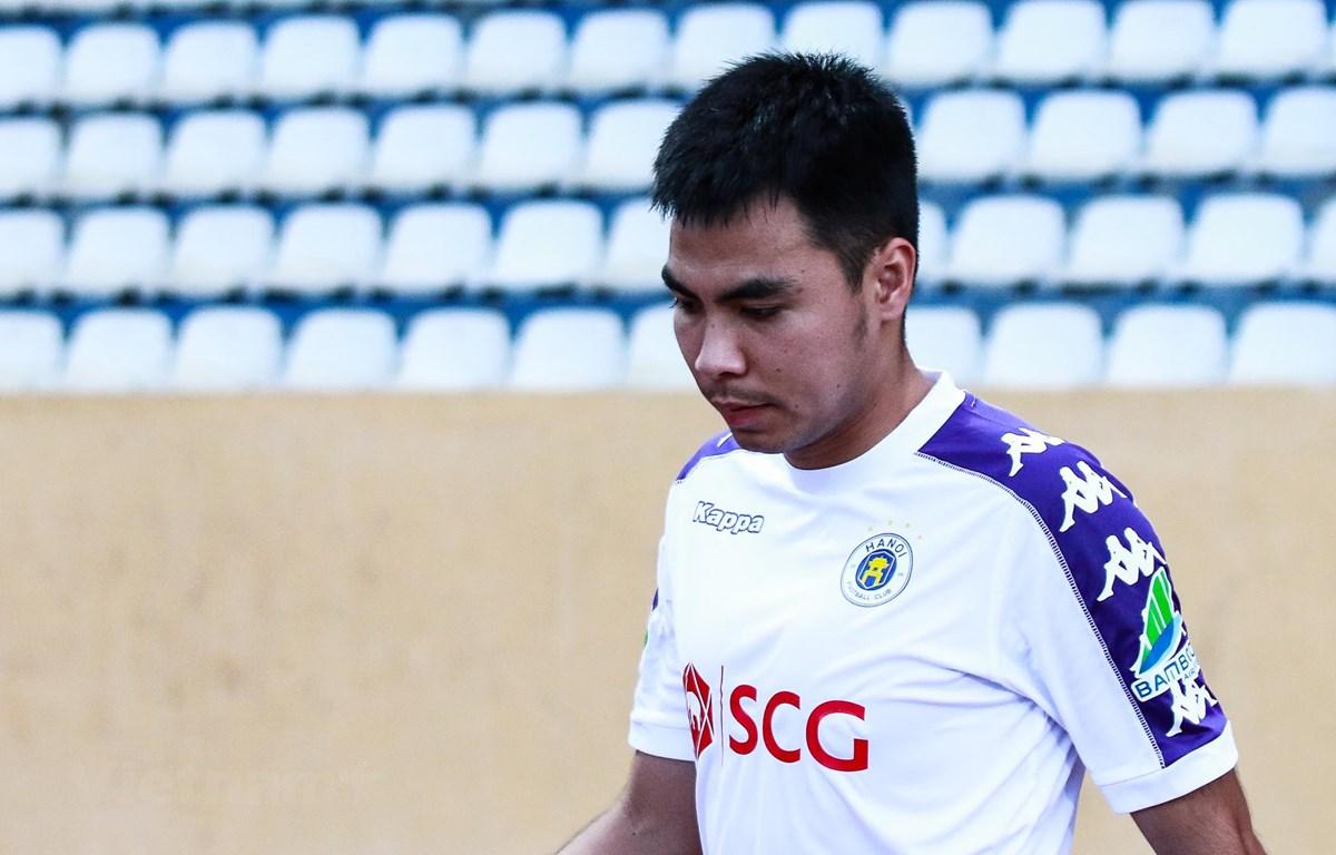 Tiền vệ Đức Huy từ chối nói về tin đồn chuyển nhượng tới Thái Lan thi đấu ở mùa giải tới với mức đãi ngộ cao. (Ảnh: Nguyên An)