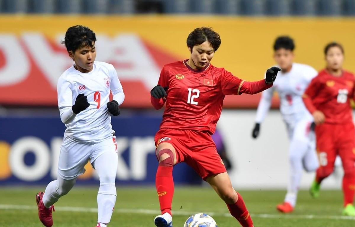 Tuyển nữ Việt Nam đánh bại Myanmar 1-0 chiều 6/2 bằng bàn thắng duy nhất của Ngân Thị Vạn Sự. (Ảnh: AFC)