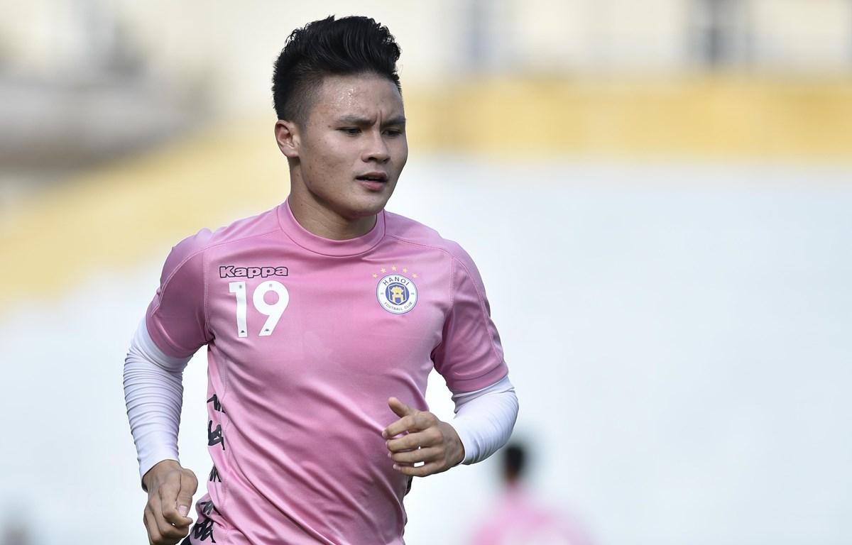 Quang Hải chia sẻ lợi nhuận từ quảng cáo cá nhân trên mạng xã hội với Hà Nội FC theo thỏa thuận giữa hai bên. (Ảnh: Nguyên An/Vietnam+)
