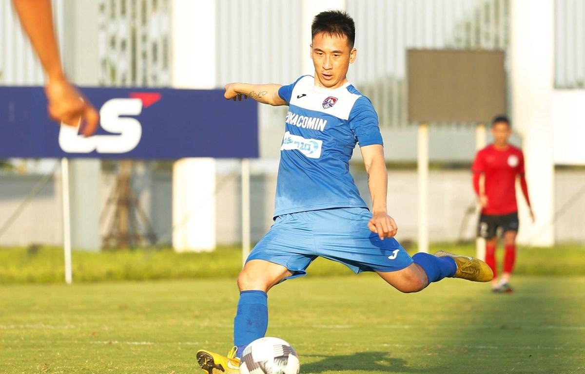 Tiền vệ Hải Huy có sự nghiệp vững chãi ở câu lạc bộ Than Quảng Ninh cùng gia đình êm ấp phía sau sân cỏ ở tuổi 29. (Ảnh: CLB Than Quảng Ninh)