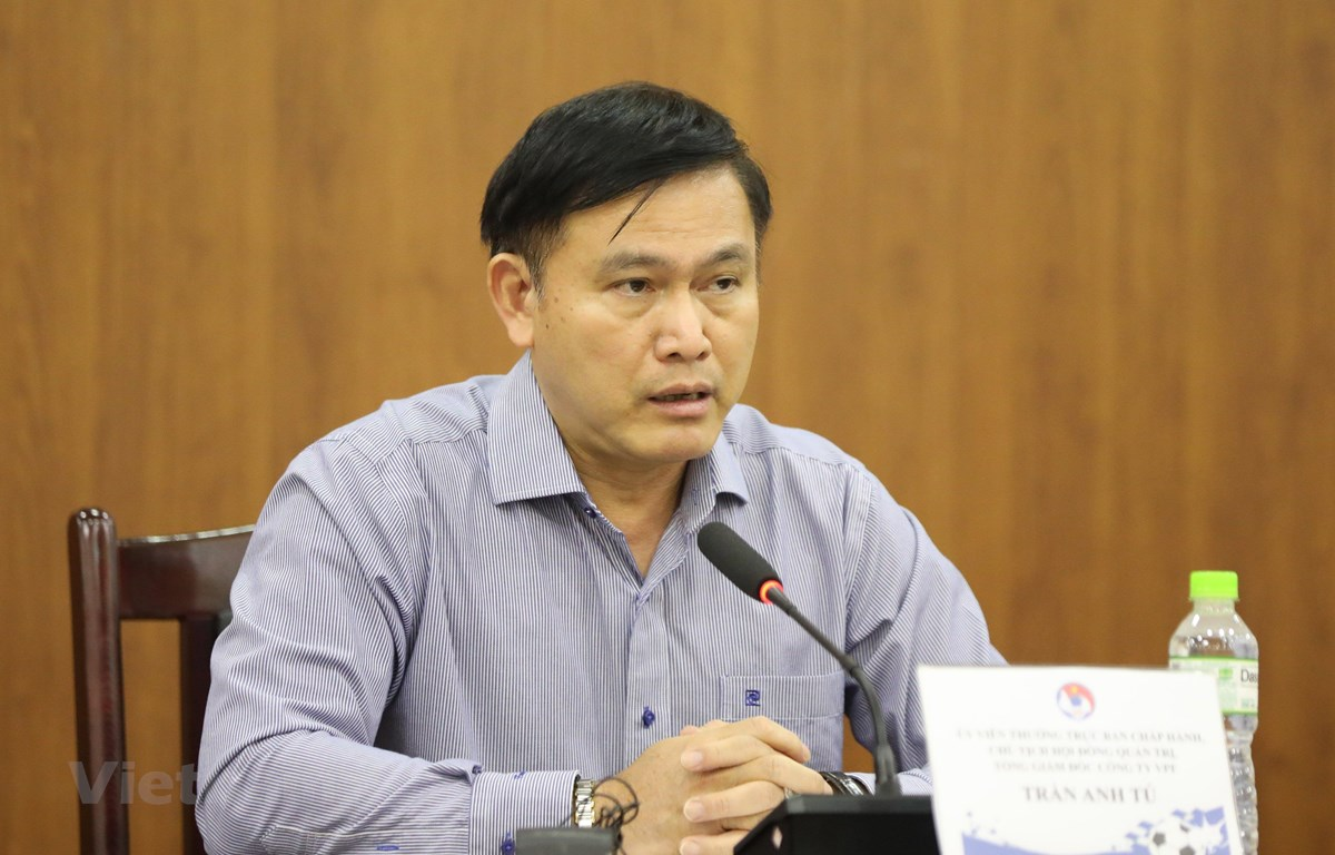 Chủ tịch VPF Trần Anh Tú khẳng định V-League là nền tảng của bóng đá Việt Nam. (Ảnh: Nguyên An/Vietnam+)