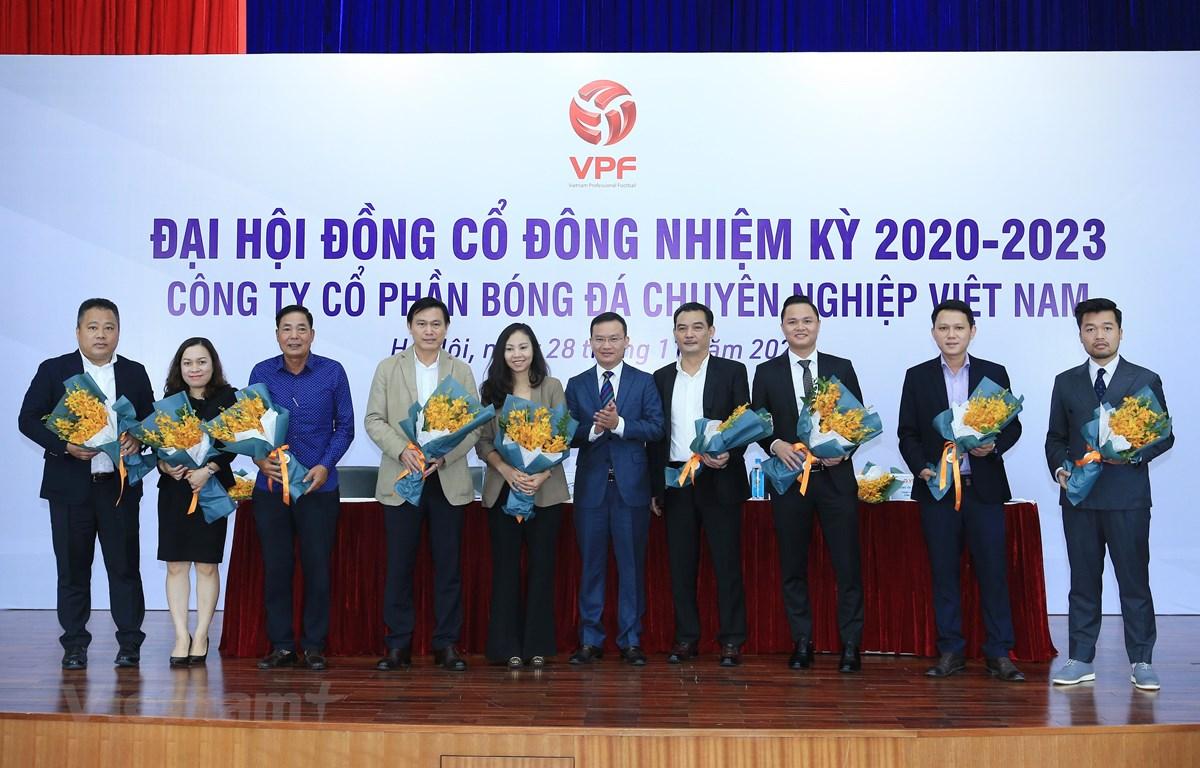 Hình ảnh Đại hội đồng cổ đông nhiệm kỳ 2020-2023 của Công ty cổ phần Bóng đá chuyên nghiệp Việt Nam sáng 28/11. (Ảnh: Đức Cường/Vietnam+)