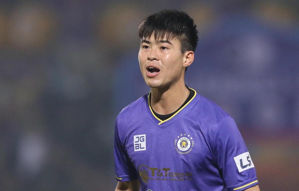 Trung vệ Duy Mạnh quyết tâm cùng Hà Nội FC trở lại cuộc đua vô địch V-League 2021. (Ảnh: Kim Chi/Vietnam+)