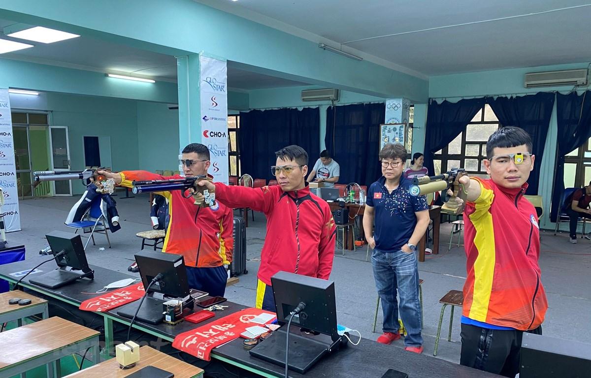 Đội tuyển bắn súng Việt Nam hiện chỉ còn một cơ hội cuối cùng để giành vé dự Olympic Tokyo. (Ảnh: CTV/Vietnam+)