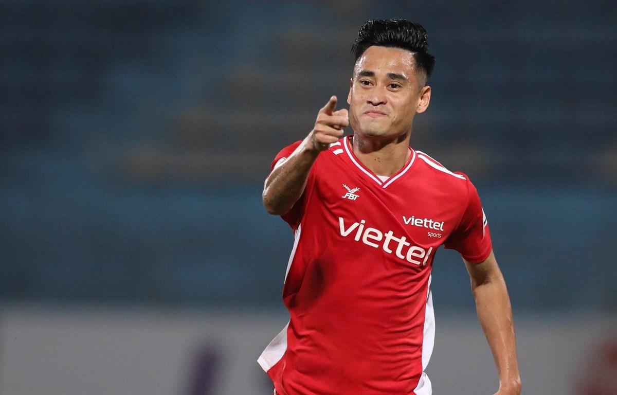 Viettel đang đứng thứ hai trên bảng xếp hạng V-League, chỉ kém 3 điểm so với đội dẫn đầu Hoàng Anh Gia Lai. (Ảnh: PV/Vietnam+)