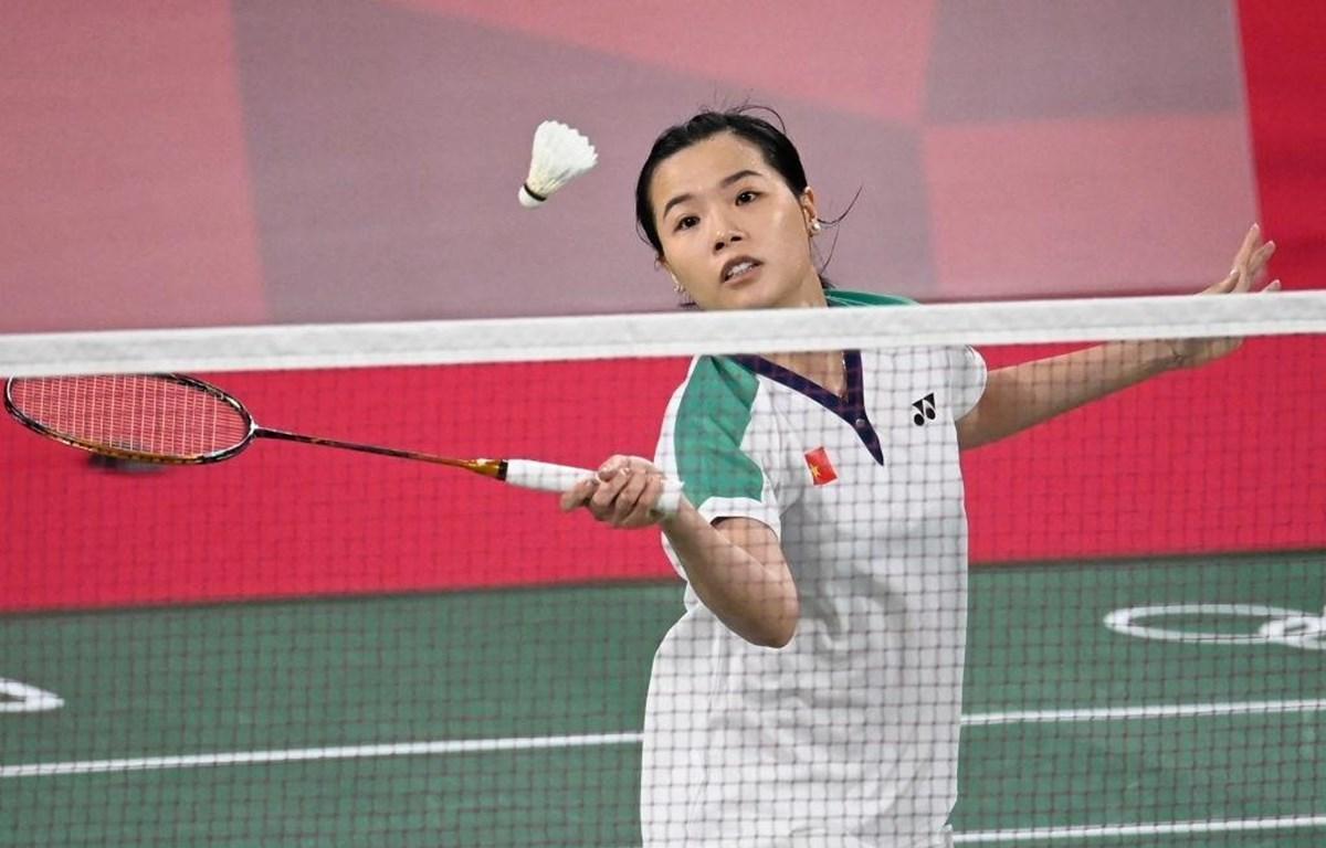 Tay vợt Nguyễn Thùy Linh thi đấu với QI Xuefei tại Olympic Tokyo 2020 sáng 24/7. (Ảnh: Getty Images)