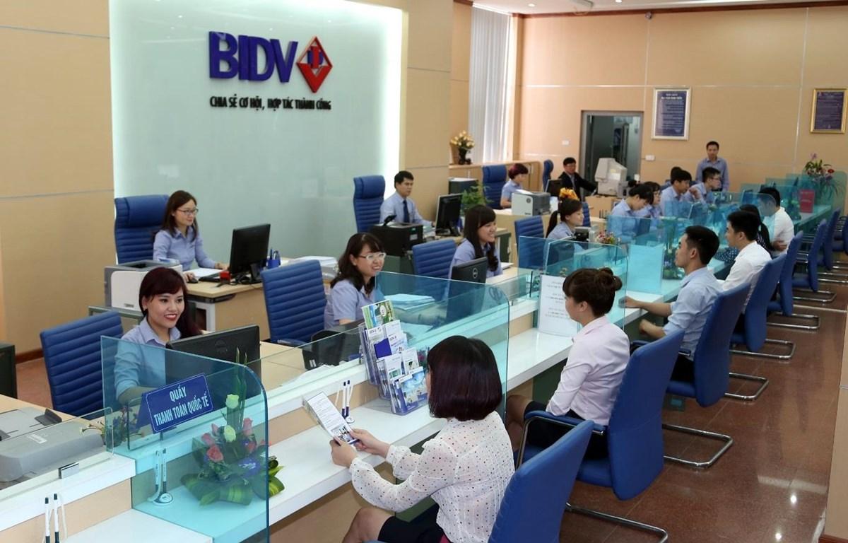 Giao dịch tại BIDV. (Ảnh: CTV/Vietnam+)